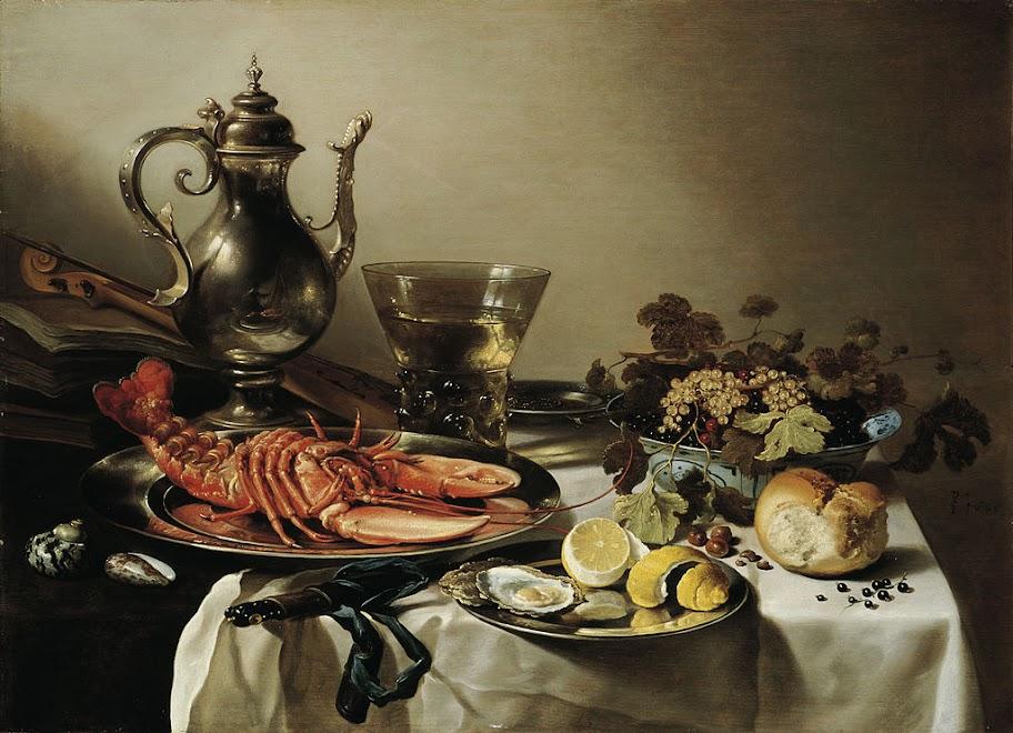 Pieter Claesz - Tafel mit Hummer, Silberkanne, großem Berkemeyer, Früchteschale, Violine und Büchern