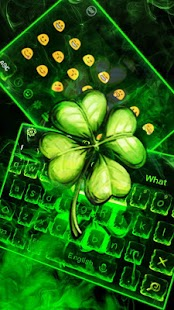 Green Neon Lucky Clover Keyboard Theme - náhled