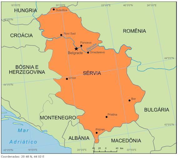 servia mapa Blog de Geografia: Mapa da Sérvia servia mapa