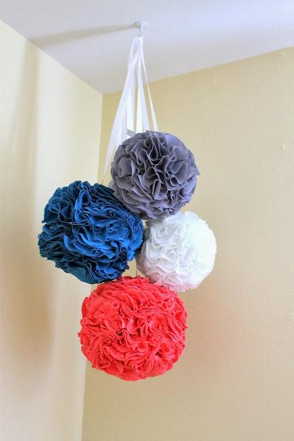 hanging fabric pom poms