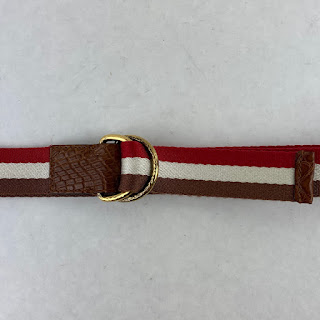 Tom Ford Red Striped Tape Belt