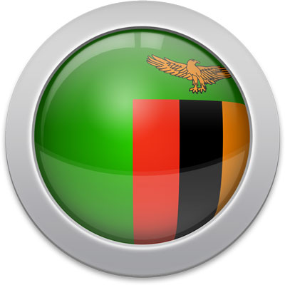 Zambian flag icon with a silver frame
