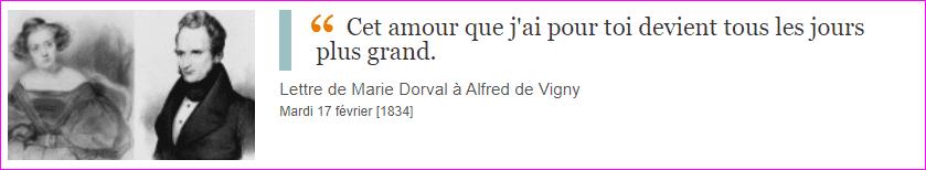 Lettre de Marie Dorval et Alfred de Vigny