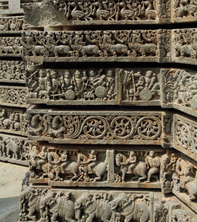 Epics, Battles, Mythological Creatures and Ancient Stories sculpted onto the exterior walls at the Hoysala Temple of Somnathpur