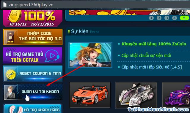 trang quản lý tài khoản game 2S Zing Speed