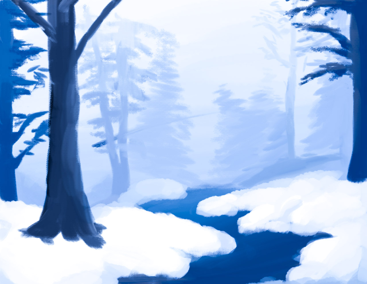 Snowy Forest Painting