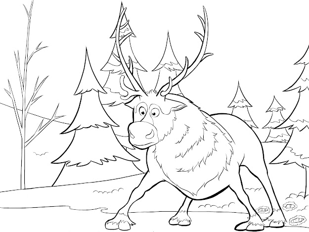 Frozen Elsa Coloring Pages  Sven From Frozen Coloring Page