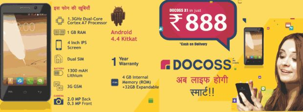 Buy Docoss X1 Smartphone at Just Rs.888 (Registration Opened)
