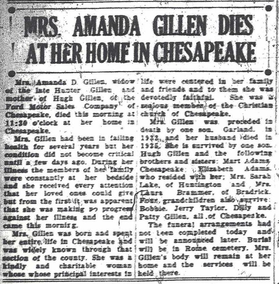 GILLEN_Amanda nee Adams_obituary_1937_Ironton Evening Tribue_Ohio_cropped