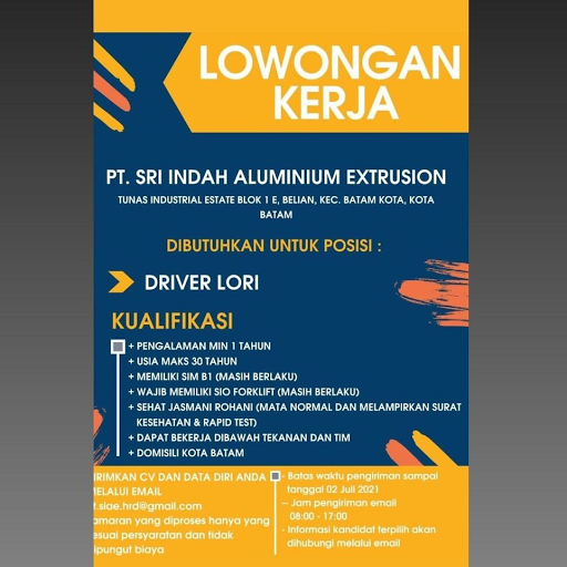PT Sri Indah Alumunium Extrusion Membutuhkan Driver Lori