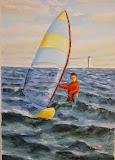 windsurfer, olej, płótno, 40x60 cm