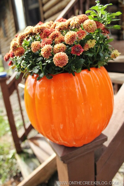 Ceramic Pumpkin with fall mums inside