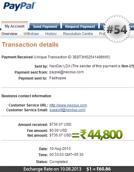 Neobux Payment Proof 54