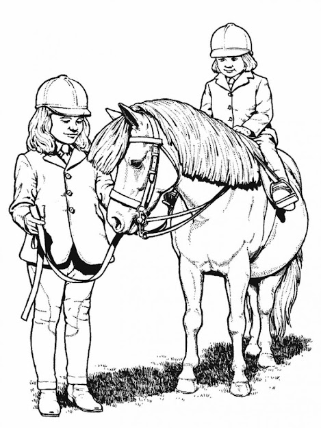 Gallery Of Girl Riding Horse Coloring Page