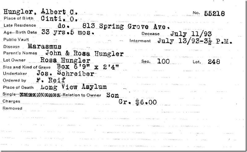 HUNGLER_Albert C_burial card_1893_SpringGroveCem_CincinnatiHamiltonOhio