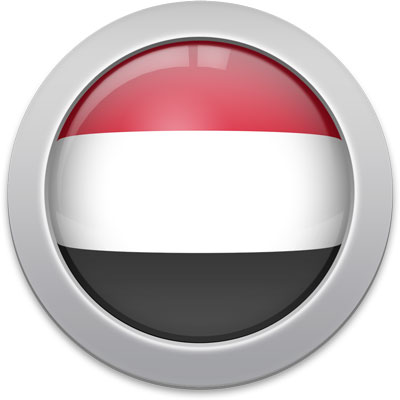 Yemeni flag icon with a silver frame
