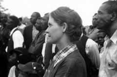 Myrtle Lawrence and others listen to a speaker at an outdoor STFU meeting (1937).