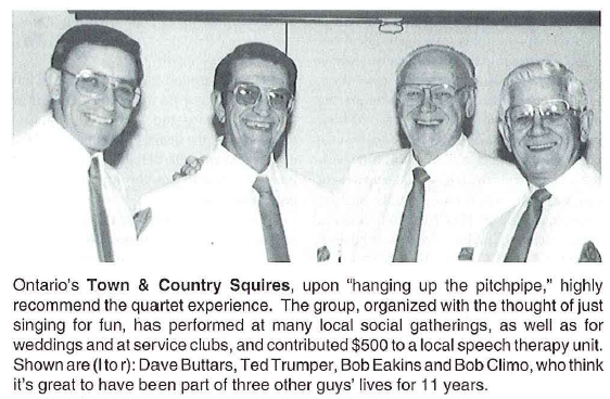 Town & Country Squires Quartet, ca 1983-93 from the Port Hope Chapter, SPEBSQSA. Clip from The Harmonizer, Sep-Oct, 1993