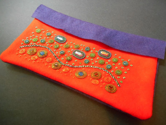 Bead Embroidered Ocean Pencil Case