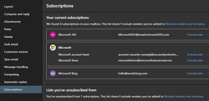 جميع حسابات البريد الإلكتروني لاشتراكات Oulook 2