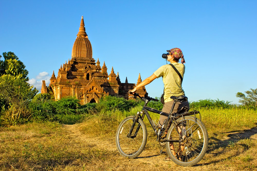Explore Bagan temples with a bicycle in Myanmar