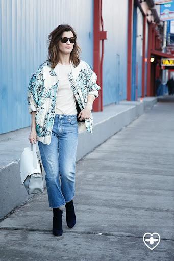 Manneli Mustaparta; model; Karen Walker jacket; Acne jeans; Rene Caovilla boots;