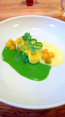 Summer Squash, ground cherries, arugula sauce, yellow tomato vinaigrette, calendula