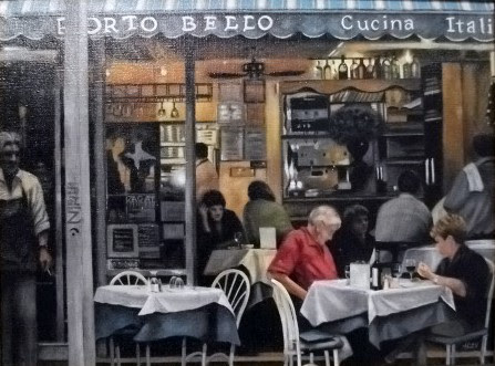 """Dinner in Greenwich Village"" Oil by Barb Allen."