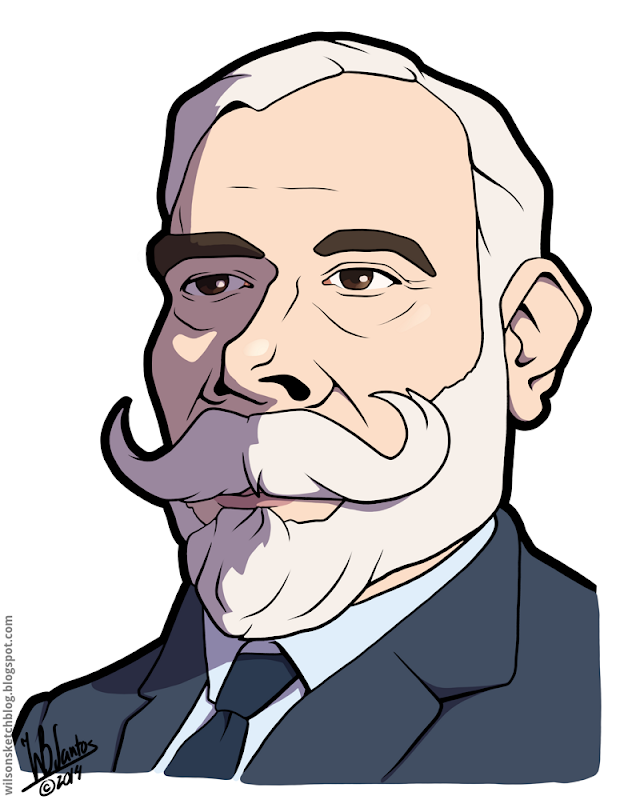 Cartoon caricature of the 6th President of the Portuguese Republic, António José de Almeida.