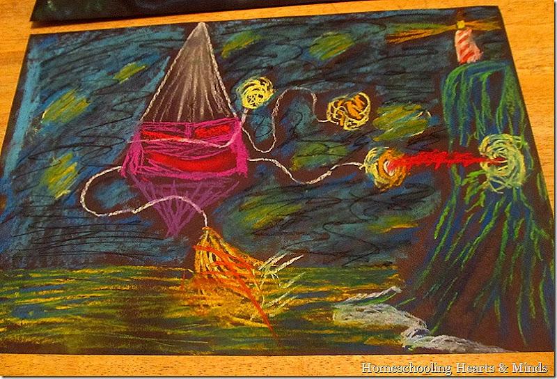 Starry Night inspired chalk art