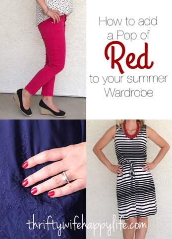 Thrifty Wife, Happy Life- How to add a pop of red to your summer wardrobe
