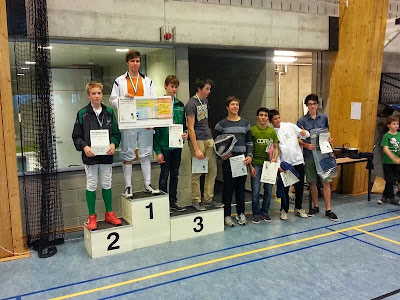 Podium heren sabel: Frans Swennen op 1e plaats
