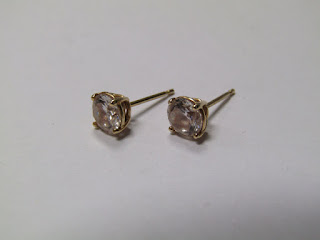 14 K Gold & Clear Stone Earrings