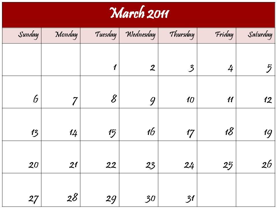 blank calendar march. Blank Calendar 2011 March or