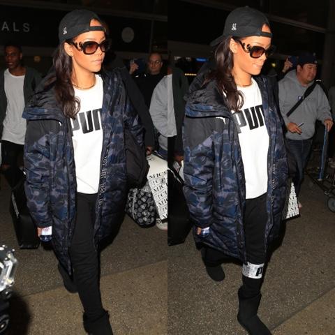 Rihanna in BAPE x PUMA, 40oz Van