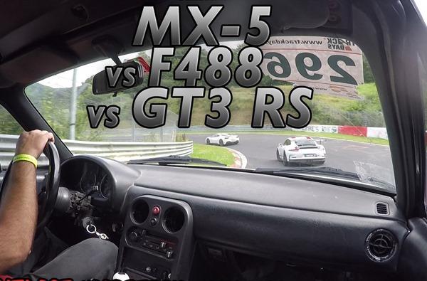mx5 vs 488 vs gt3 rs