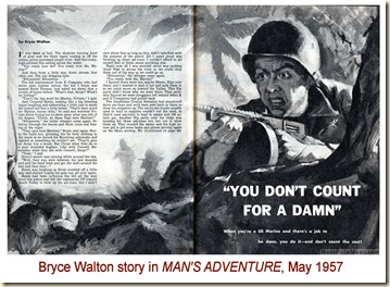 MAN'S ADVENTURE, May 1957, Bryce Walton story