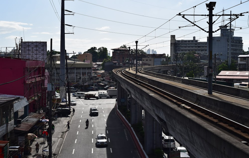 The elevated tracks run above a few of the major roads, reminds me of the Bangkok skytrain!