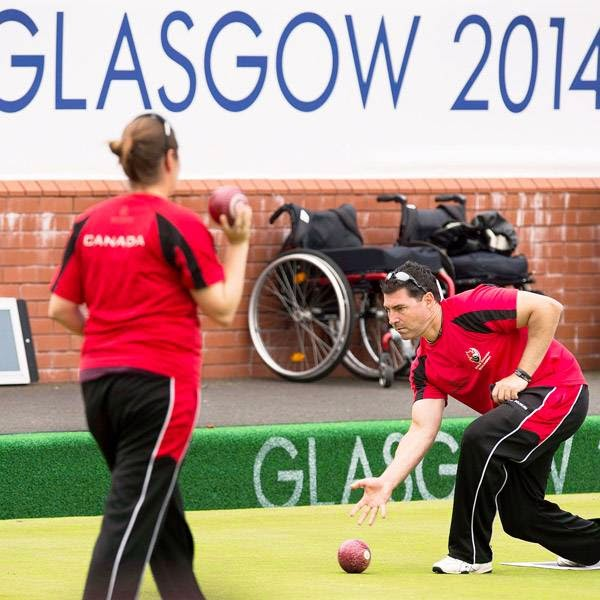 Lawn bowler Tim Mason practices at the Kelvingrove Lawn Bowls Centre at the Commonwealth Games in Glasgow, Scotland on Tuesday, July 22, 2014. Mason bowls for Canada.