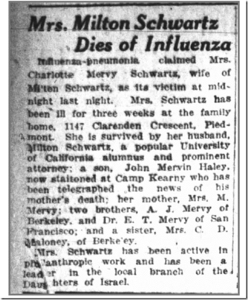 Charlotte Schwartz dies of influenza copy