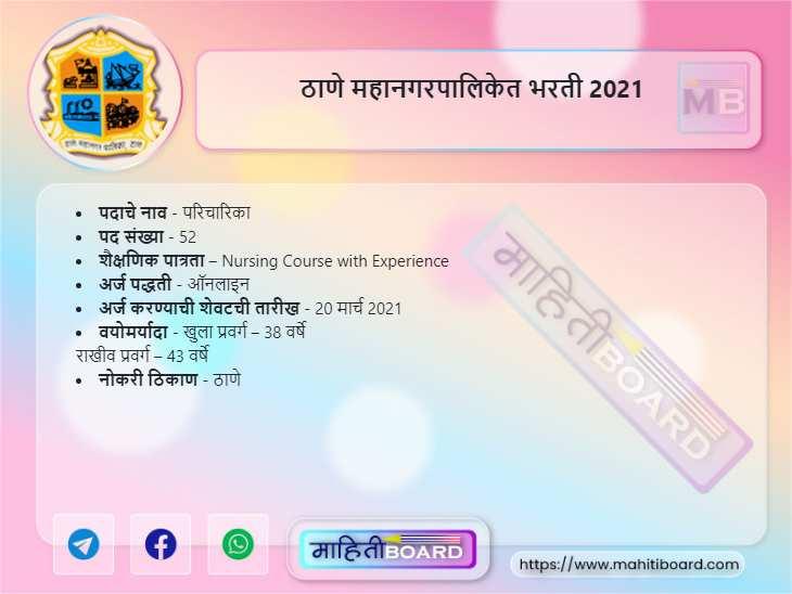 Thane Mahanagarpalika Recruitment 2021