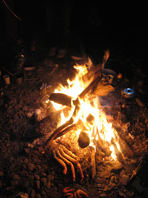 たき火とカニ