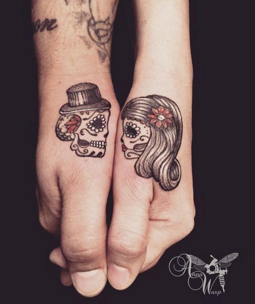 bonito_e_eterno_casal_de_açcar_do_crnio_de_halloween_tatuagens