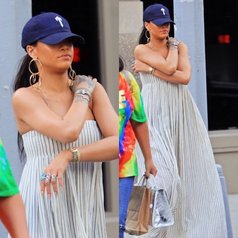 Rihanna wears Brock Collection's Dilly Maxi Dress