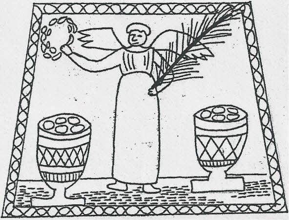 I cesti con il pane dell'Eucaristia. L'angelo presenta i rami di palma e di alloro simbolo di vittoria