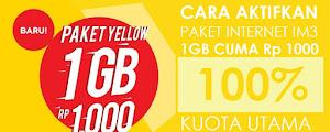 Cara Beli Paket Yellow IM3 Kuota 1GB Rp 1000 & Rp 1500 [UPDATE]