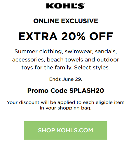 Kohl's coupon 20% off swimwear