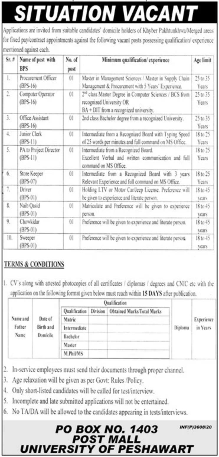 PO Box1403 Peshawar Jobs October 2020