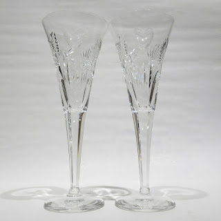 Waterford Crystal Wine Flutes Millennium Happiness Bows Heart Set of 2