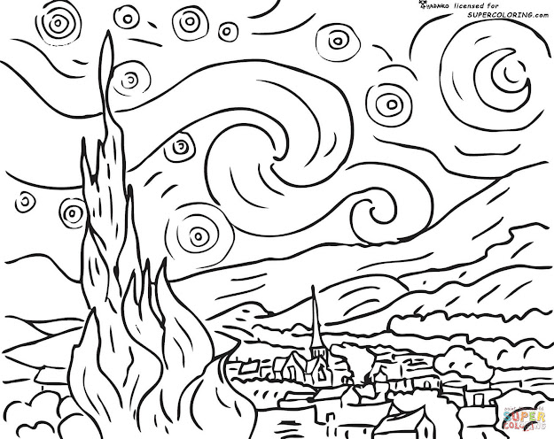 Van Gogh Coloring Pages To View Printable Version Or Color It Online  Patible With Ipad And Android Tablets